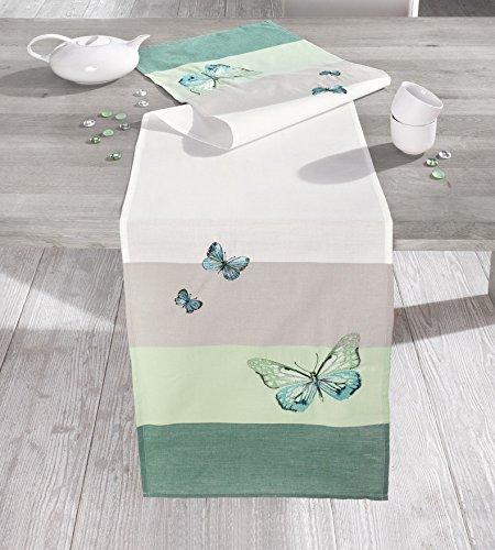 """Tischläufer """"Schmetterling"""" Tischdeko weiss beige lindgrün Tischdecke Butterfly Frühling..."""