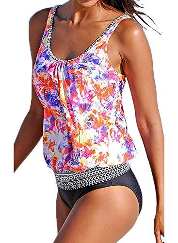Yidarton Damen Tankini Bauchweg Bedruckter Badeanzug Zweiteiler Bikini Sets Push Up Swimsuit Gepolsterte Bademode Beachwear (14-Rosa, XXL=(EU,42-44))