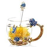 Sudatek smalto vetro trasparente tazza di caffè tè acqua tazza con cucchiaio a mano farfalla rosa set regalo Blue Rose