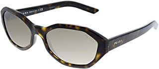 Prada PR 20VS 2AU4P0 Havana Plastic Geometric Sunglasses Grey Mirror Lens