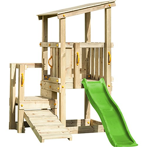 Demmelhuber Blue Rabbit 2.0 Spielturm Cascade mit Rutsche 1,75 m apfelgrün + Kletterrampe Kletterturm Holzturm Kiefer Massivholz imprägniert