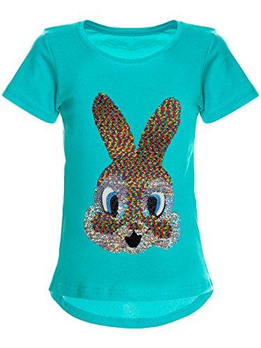 BEZLIT Mädchen Wende-Pailletten T-Shirt Hase-Motiv 22589 Türkis Größe 128