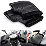 Haokanba Bike & Motorcycle Handlebar Gloves Muff for Cold Weather, Winter Waterproof Riding Hands Warmer Mitts Windproof Handguards Hand Protectors Covers Thermal Cotton Handle Cover Gloves (Black)