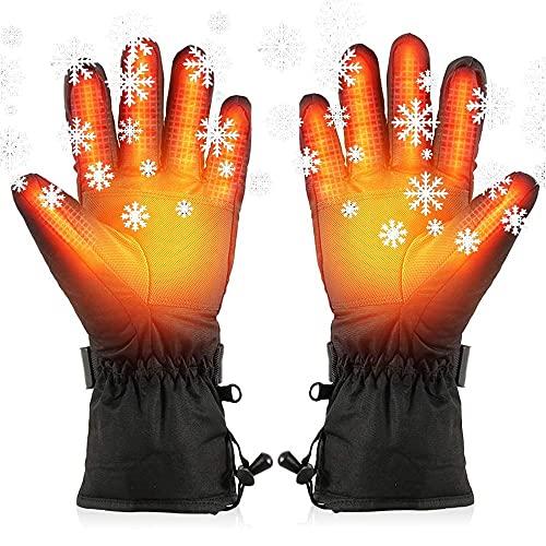 FXBFAG Guantes Térmicos, Guantes Eléctricos para Hombres Mujeres 3 Temperatura de Calefacción Pantalla Táctil Ajustable Impermeable Guantes Calientes, para Pesca Esquí Motocicleta Ciclismo