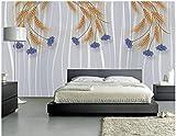 Papel tapiz fotográfico Flores de color púrpura gris espigas de trigo dorado 200x150 cm -4 pieces Lana Decoración De Pared Sala Cuarto Papel pintado tejido no tejido Decoración de Pared decorativos