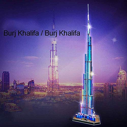 Kids 3D Model Kits Puzzles DIY Papercraft LED Architecture Model Building Kits Lighting Dubai Burj Khalifa illuminated at night Decoration Gift Game Toy 136 Pieces for Adults Childrens Brain Teaser
