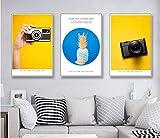 AKLIGSD Cuadros en Lienzo Cámara Life Art Piña para la Sala de Estar Dormitorio Cocina,50cm x 70cm x 3pcs(Sin Marco)