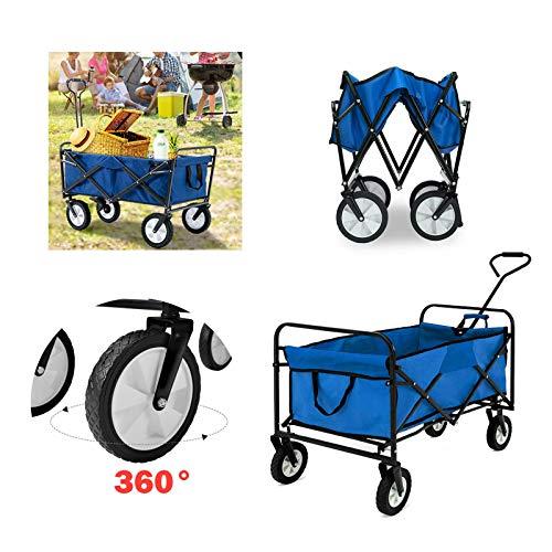 Huini Handwagen Faltbarer Bollerwagen klappbar Gartenanhänger für Ausflüge & Festivals Transportwagen Strandwagen Transportkarre 360°Drehbar (Blau ohne Dach)