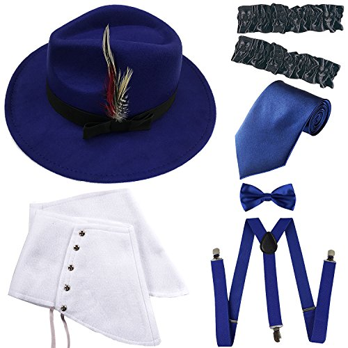 1920s Trilby Manhattan Gangster Fedora Hat, Gangster Spats,Garters Armbands,Suspenders Y-Back Elastic Trouser Braces,Pre Tied Bow Tie,Gangster Tie (OneSize, Royal Blue)