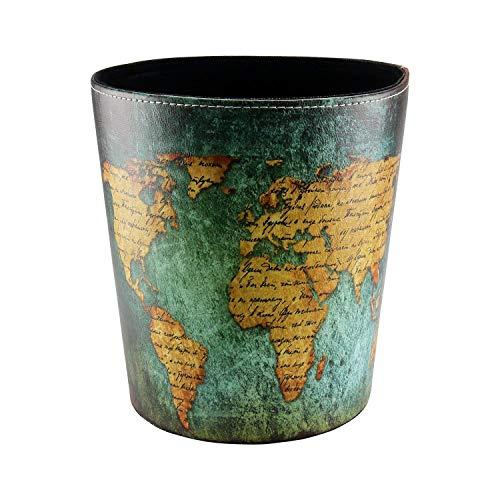 YVSoo Papierkorb 10L Bedrucktes Leder Papierkorb Dekorativer Papierkorb für Küche, Wohnzimmer, Schlafzimmer, Badezimmer - Weltkarte