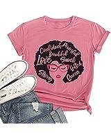 T&Twenties Women's Afro Vintage Shirt Melanin Queen Words Art T-Shirt Glasses Printed Short Sleeve Tee Shirt Pink
