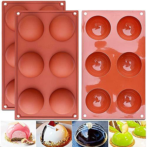 Molde de Silicona, NALCY 6 cavidades con Forma Semi esférica, Color Terracota Herramienta para Hornear para Sus postres de Chocolate, Bombas de Helado, Mini Tarta de té - 3 Piezas