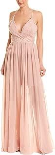 Women's Phoebe Plunging Chiffon Long Gown Sleeveless Dress
