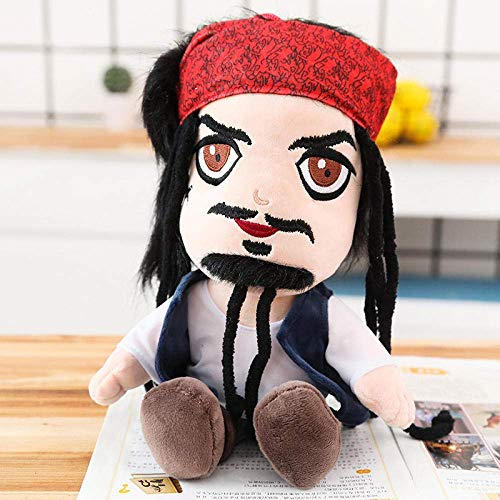 GHJU OmeDecor 25/35 / 45Cm Jack Doll Plush Stuffed Toy Parrot Plush Toy Pirate Skull Toy Children S Birthday Gift-45Cm_Black QingQiao