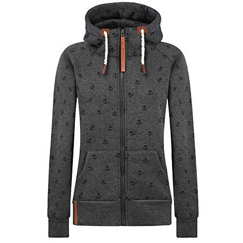 Newbestyle Jacke Damen Sweatjacke Hoodie Sweatshirt Oberteile Damen Pullover Kapuzenpullover Pulli mit Reissverschluss (Dunkelgrau, XXXL)