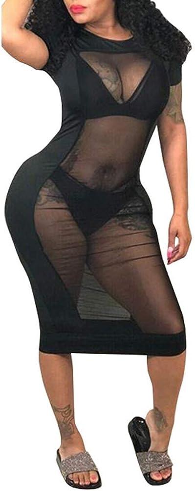 OLUOLIN Women's Sexy Short Sleeve Gauze Mesh Patchwork See Through Club Dress