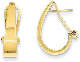 Lex & Lu 14k Yellow Gold Polished J-Hoop Omega Back Post Earrings