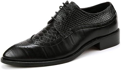 FuWeißncore 2018 Herren Oxfords Spitzschuh Flache Ferse Soft PU Leder Schnürschuh Business Casual Schuhe (Farbe   Rot, Größe   44 EU) (Farbe   Schwarz Größe   44 EU)