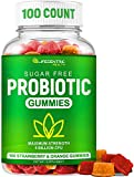 Probiotic Gummies for Adults & Kids Max Strength 5 Billion CFU | Organic Sugar Free Gummies for Digestive Health | 100 Count Vegan Gluten Free Chewable Probiotics Gummies for Men Women & Children
