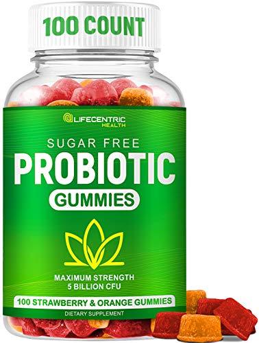 Probiotic Gummies for Adults and Kids Max Strength 5 Billion CFU | Organic Sugar Free Gummies for Digestive Health | 100 Count Vegan Gluten Free Chewable Probiotics Gummies for Men Women and Children