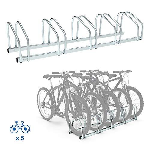 Todeco Rastrelliera Biciclette, Supporta 5 PortabiciPortabiciclette, Porta Biciclette da terrabiciclette, Porta Bici da Terra, Dimensione: 132 x 32 x 26cm