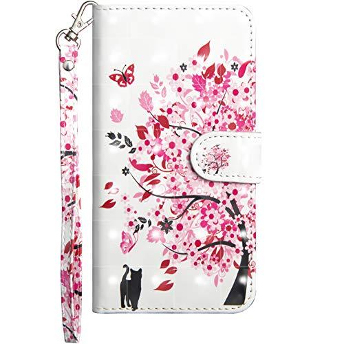 Jefencop Funda de Cuero para Xiaomi Mi A2 Carcasa Libro Cierre Magnético Flip Case Cover con motivo Antigolpes Cartera PU Cuero Funda de Billetera con Función de Soporte para Xiaomi Mi A2