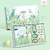 XKMY Cuaderno de cuento de hadas de tapa dura con cinta adhesiva, juego de libro de mano, caja de regalo, diario de niña rosa, morada, para estudiante, papelería escolar (color verde)