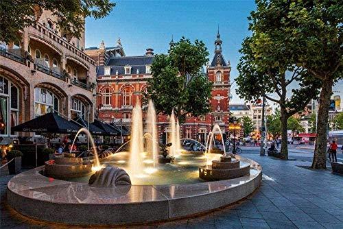 XZHYMJ Kit di Pittura Diamante 5d Fai da Te Amsterdam Town Fountain Hotel Set di Pittura Diamante per Adulti Trapano Completo Pittura Artigianato per la Decorazione della Parete di casa 40 × 50 cm