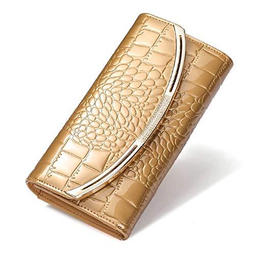 VICTOE Schlichte, modische Ledergeldbörse für Damen, großes Fassungsvermögen, einfarbig, Clutch, Lackleder, Geldbörse, 3-fach gefaltete Lederschnalle, gold (Gold) - VICTOE-6585