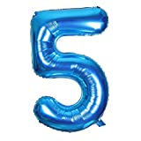 Smarcy Globos Número 5 Decoración de Cumpleaños 5 Años Fiesta de Cumpleaños (Azul)