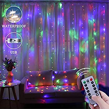 Window Curtain String Lights 300 LED USB Powered String Lights 8 Lighting Modes Waterproof Decorative Lights for Bedroom Wedding Party Backdrop Outdoor Indoor Wall Decoration 9.8x9.8 Ft