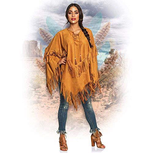Boland 44095 - Poncho Indianerin, braun, Einheitsgröße für Erwachsene, Umhang in Lederoptik mit Fransen und Perlen, Häuptling, Cowboy, Squaw, Karneval, Fasching, Fastnacht, Halloween, Mottoparty