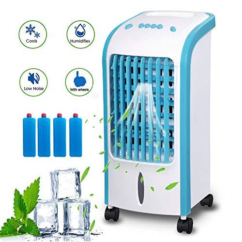 Enfriador De Aire Con Rueda Universal,Puede Purificar El Aire Humidificado,Velocidad Del Viento De Tres Velocidades,Ahorro De EnergíA Silencioso,Tanque De Agua De 4 Litros (70W),Blue