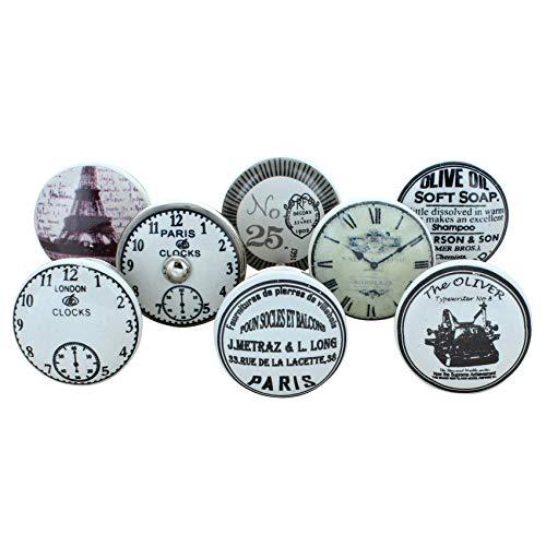 G Dekor Set mit 8 Keramik-Türgriffen, für Schranktüren, Vintage / Aged Finish, Weiß / Silber