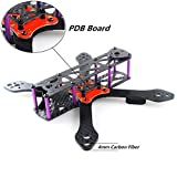 DroneAcc Quadcopter Frame Kit 220 con PDB, fuerte y ligero X Design Drone Frame con brazo de 4MM, Martain II RX220 Carbon Fibre FPV Racing Quad Frame