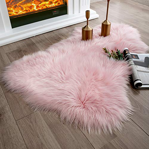 Ashler Soft Faux Sheepskin Fur Chair Couch Cover Pink Area Rug for Bedroom Floor Sofa Living Room 2 x 3 Feet