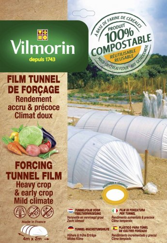 Vilmorin Film Tunnel de forçage-Farine de Céréales-2m x 4m, 20µm Housses, Naturel