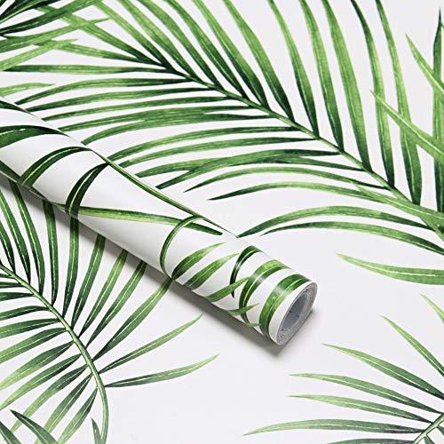 Papel pintado de hojas verdes moderna lámina decorativa autoadhesiva para muebles decoración de pared papel pintado fotográfico blanco y verde para pared muebles puerta armario ventana vinilo 45*300cm