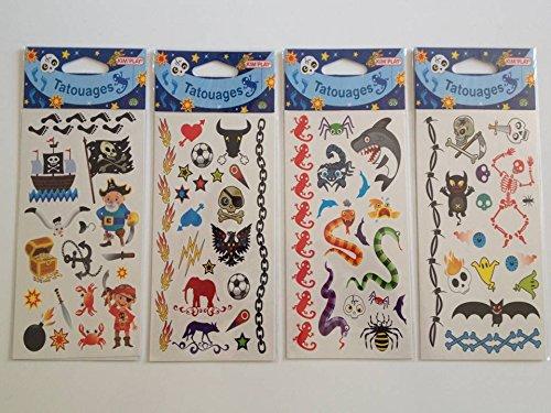 Tatouages enfant : 4 Pochettes sous blister individuel de 65 tatouages en tout découpables.