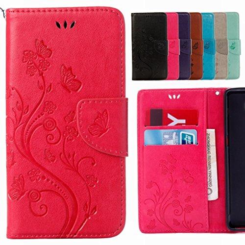 Yiizy BQ Aquaris X5 Plus Funda, Las Flores De Alivio Diseño Billetera Carcasa Estuches PU Cuero Cover Cáscara Protector Piel Ranura para Tarjetas Estilo (Rose Red)