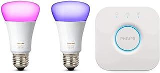 Philips Hue Kit 2 Bombillas Inteligentes LED E27, 9.5 W y Puente, Luz Blanca y de Colores, Compatible con Alexa y Google Home