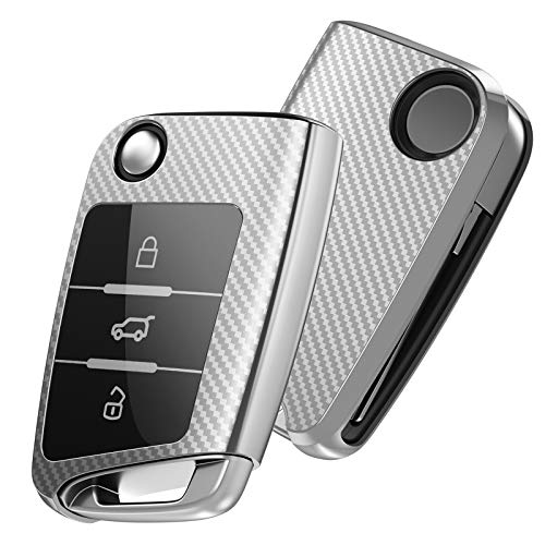 OATSBASF Autoschlüssel Hülle VW,VW Golf 7 Schlüsselbox,Schlüsselhülle Cover für VW Polo Skoda Seat Leon 3-Tasten (Silber-Streifen)
