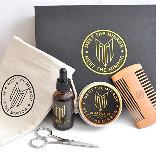 Beard oil kit-beard growth-beard grooming set-ultimate luxury beard care gift set- beard balm- comb- complete mustache and beard styling products- soften condition facial hair-all natural