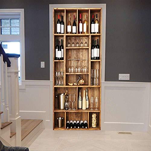 LOVEJJ Pegatinas de puerta en 3D Botellero Puerta de madera DIY Papel autoadhesivo Mural etiqueta Papel tapiz para el dormitorio calcomanía de la puerta de la casa 77x200 cm