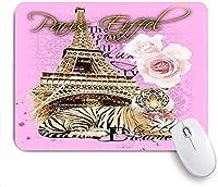 Mabby マウスパッド,paris eiffel and rose tiger print screen artwork,ラップトップコンピュータPCオフィス用の滑り止めラバーベースマウスパッド,Cute Design Desk Accessories
