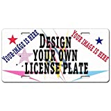 Custom License Plate Your Image Text Here Custom Name Custom Message Novelty Personalized License Plate with Your Image Add Pictures, Text, Logo (Black)
