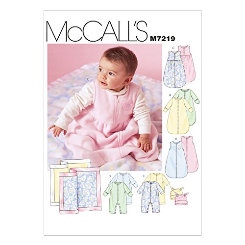 McCall's Patterns M7219 Infants' Buntings, Jumpsuits, Hats and Blanket Sewing Template, in One Envelope