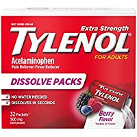32-Count Tylenol Extra Strength Dissolve Packs with Acetaminophen for Pain & Fever (Berry)
