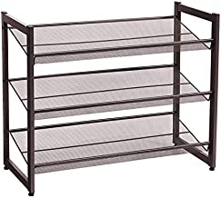 SONGMICS 3-Tier Shoe Rack Storage, Metal Mesh, Flat or Angled Stackable Shoe Shelf Stand for 9 to 12 Pairs of Shoes, Bronze ULMR03A