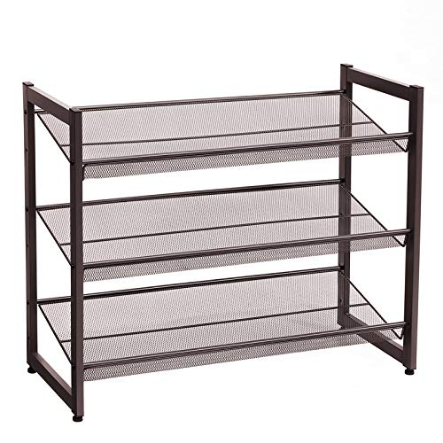 SONGMICS 3-Tier Stackable Metal Rack Flat & Slant Adjustable...